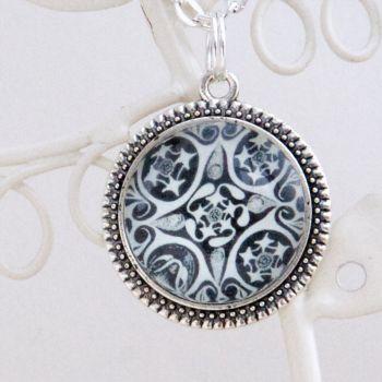 Minoan swirls & stars pendant