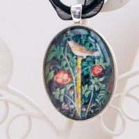 Pompeii fresco bird & roses, large oval pendant