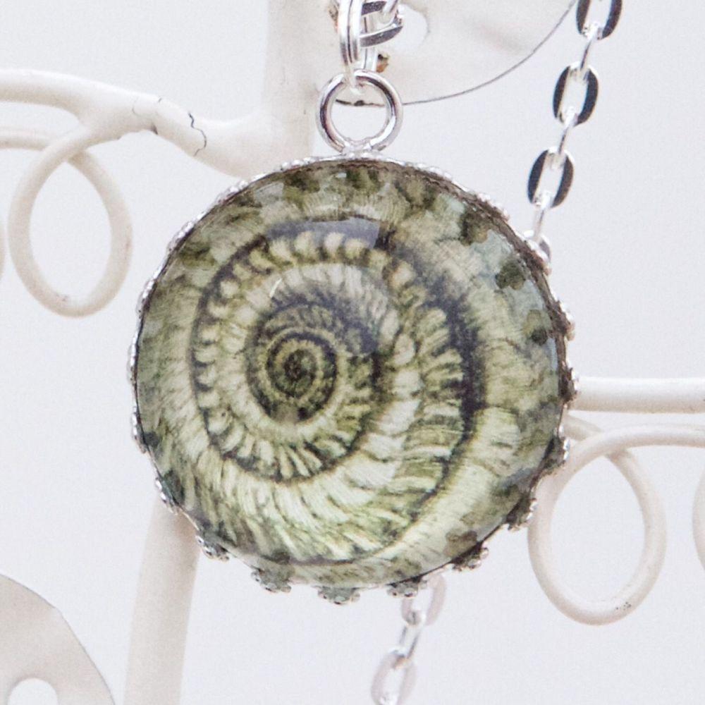 Robert Hooke ammonite pendant necklace