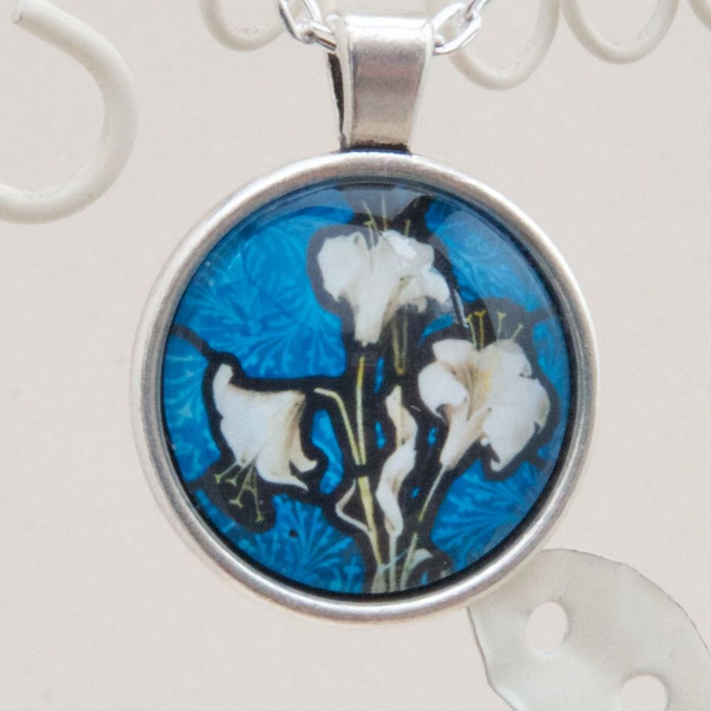 Lily Victorian stained glass pendant