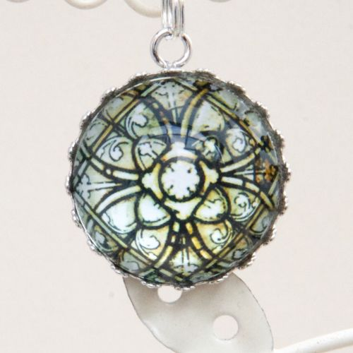 Medieval French stained glass pendant