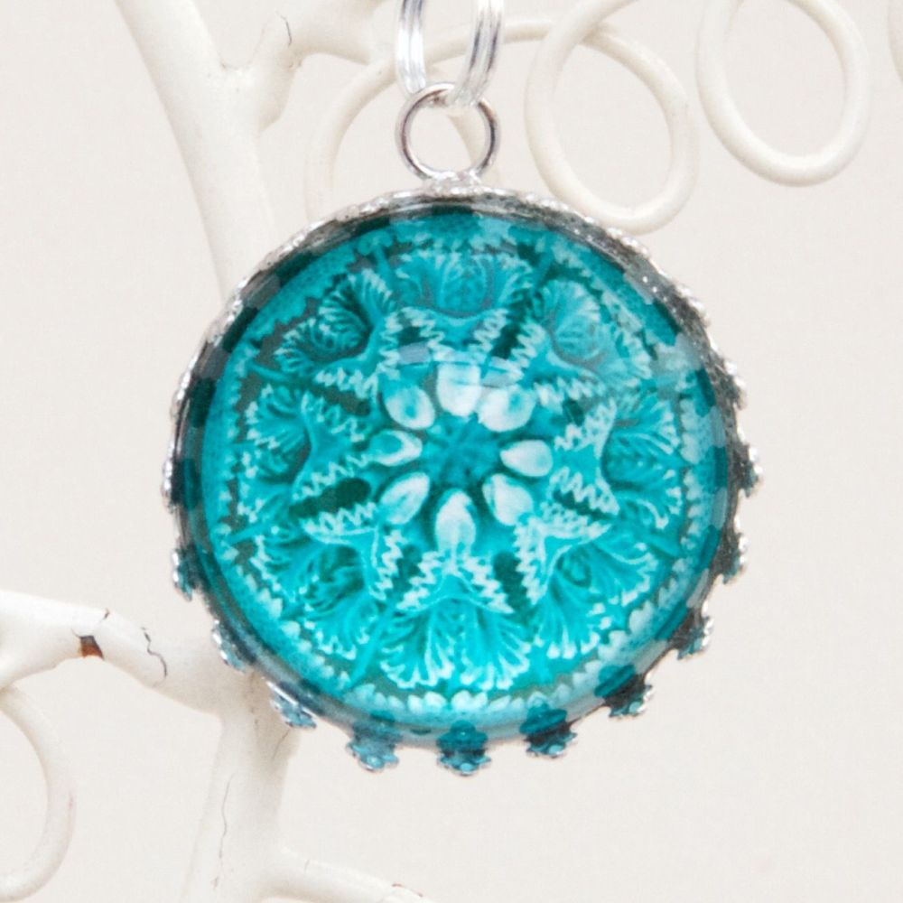 Ernst Haeckel discomedusae jellyfish blue deep glass pendant