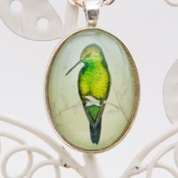 Red Billed Hummingbird by John Gould, large oval pendant