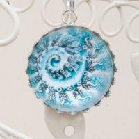 Siphonophore by Haeckel, deep glass pendant
