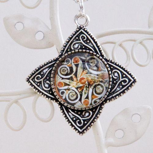 Minoan Phaistos dish pendant, four-pointed pendant