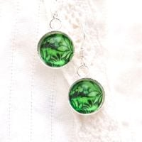 Stained glass earrings, green