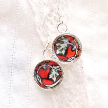 Stained glass earrings, red