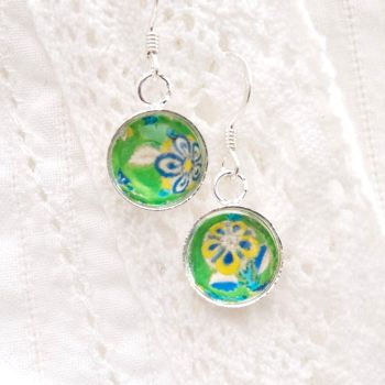 Iranian tile floral motif earrings