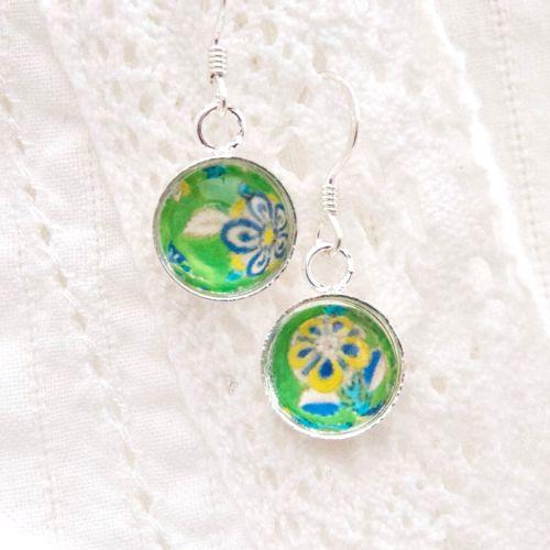 Iranian tile floral motif earrings