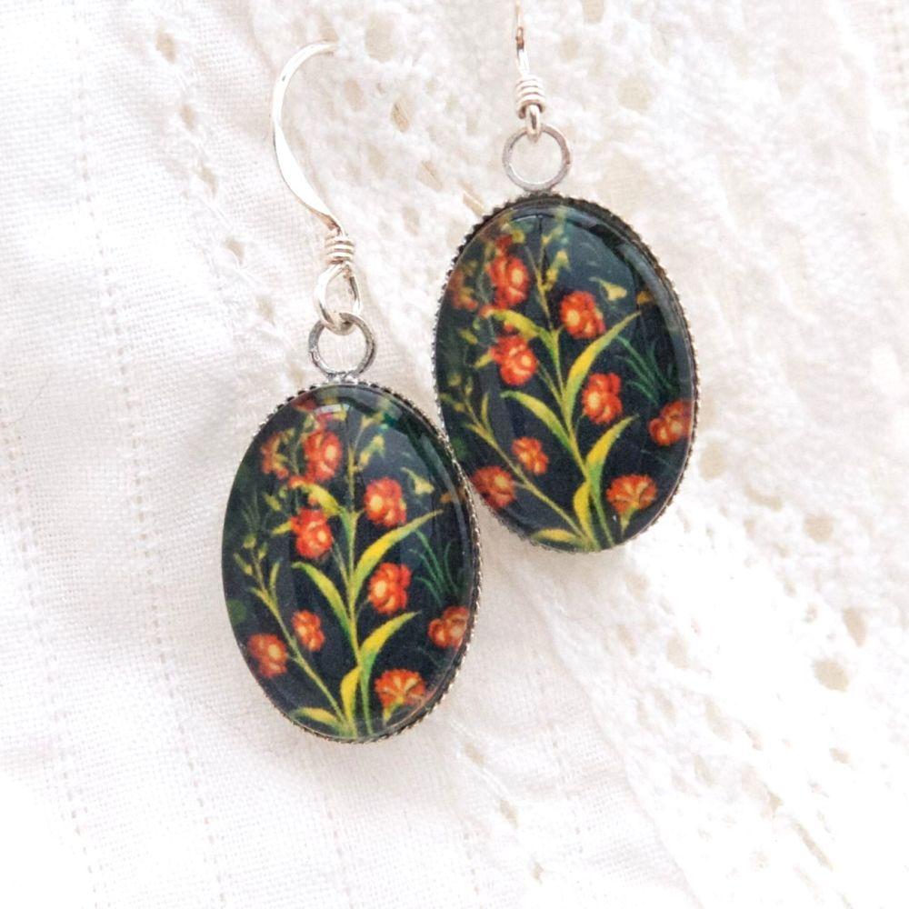 Medieval tapestry carnation earrings