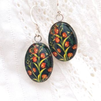 Medieval tapestry carnation earrings