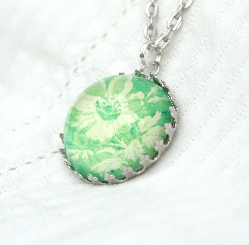Victorian 'Arsenical wallpaper', green floral deep glass pendant