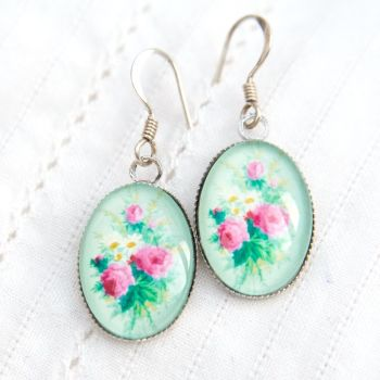 Victorian 'Arsenical wallpaper' bouquet earrings