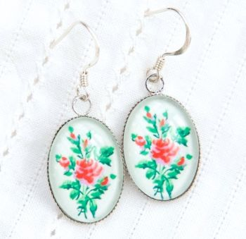 Victorian 'Arsenical wallpaper' rose motif earrings