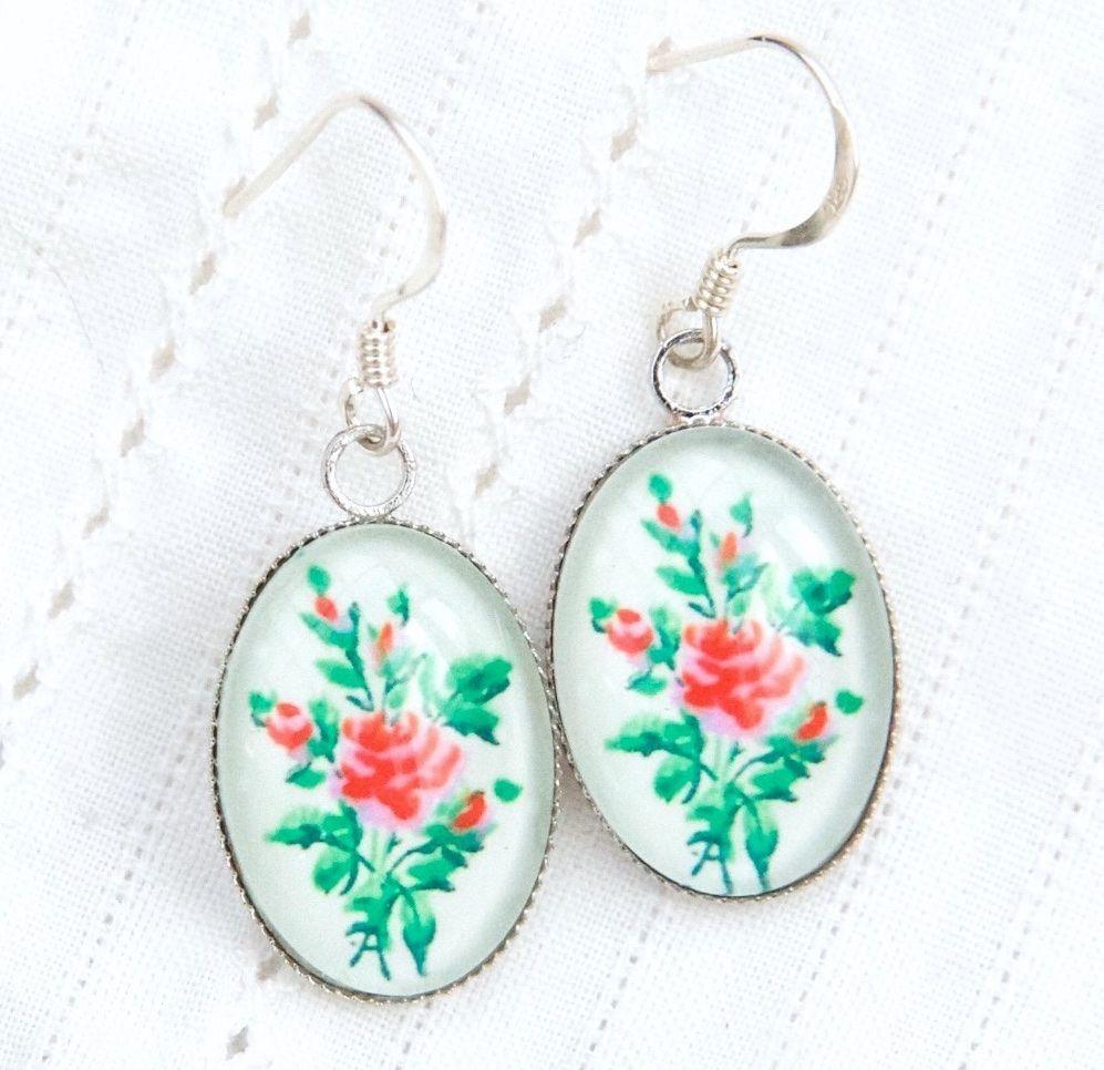 Victorian 'Arsenical wallpaper' rose motif earrings