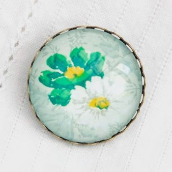 Victorian 'Arsenical wallpaper' green floral brooch