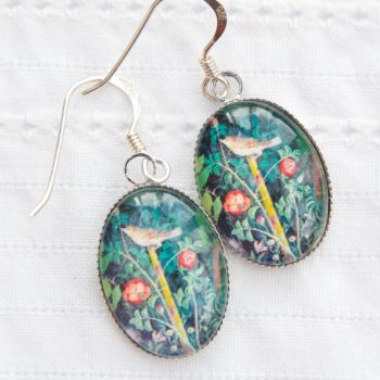Pompeii, Roman garden fresco oval earrings