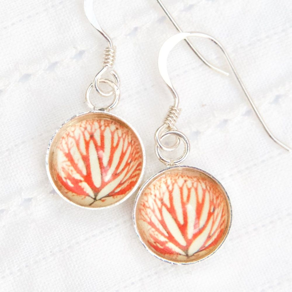 Red algae, deep glass earrings