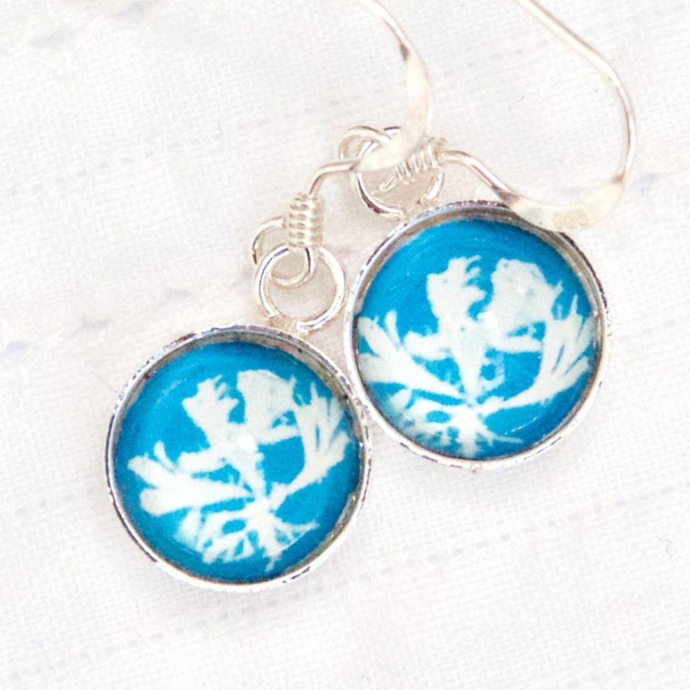 Algae cyanotype, Anna Atkins, deep glass earrings