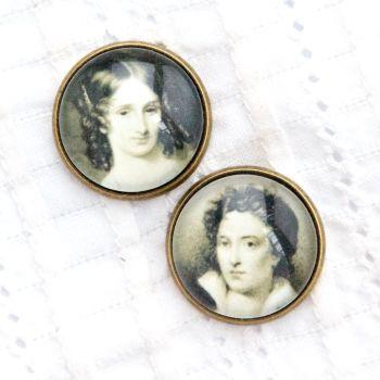 Mary & Percy Shelley cufflinks, bronze tone