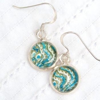 Persian Simurgh tile motif earrings