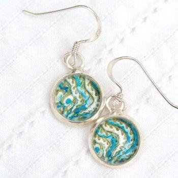 Persian Simurgh tile motif earrings