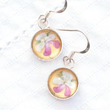 Medieval manuscript flower, deep glass earrings