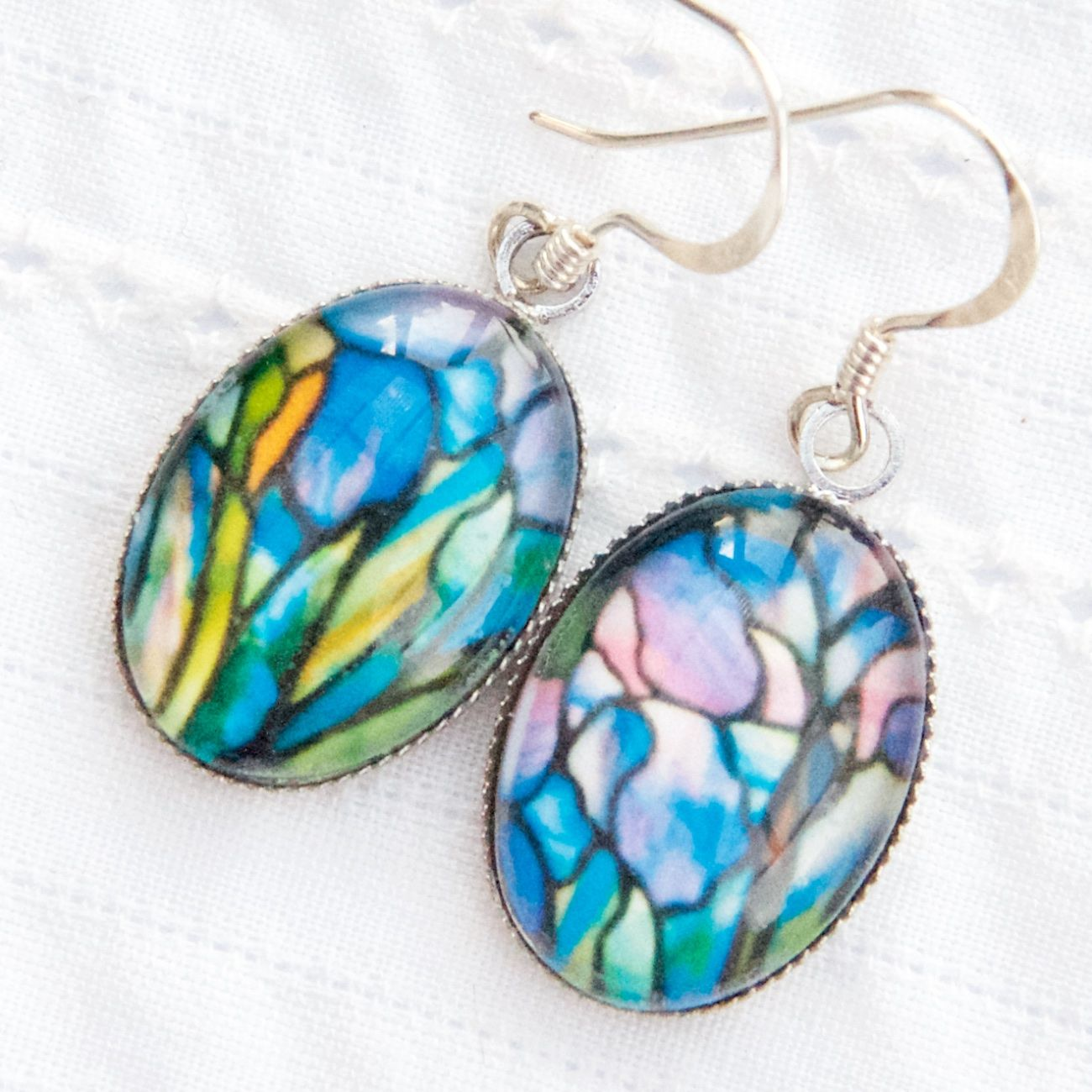Tiffany stained glass oval earrings