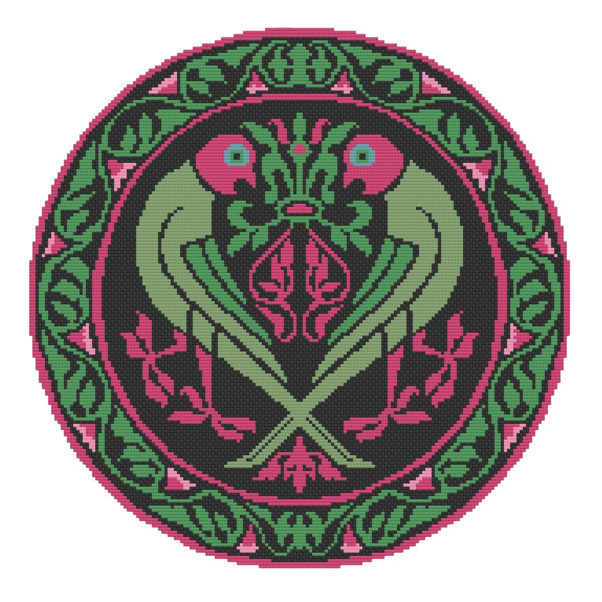 Historiana Cross Stitch Parrots Roundel Pattern