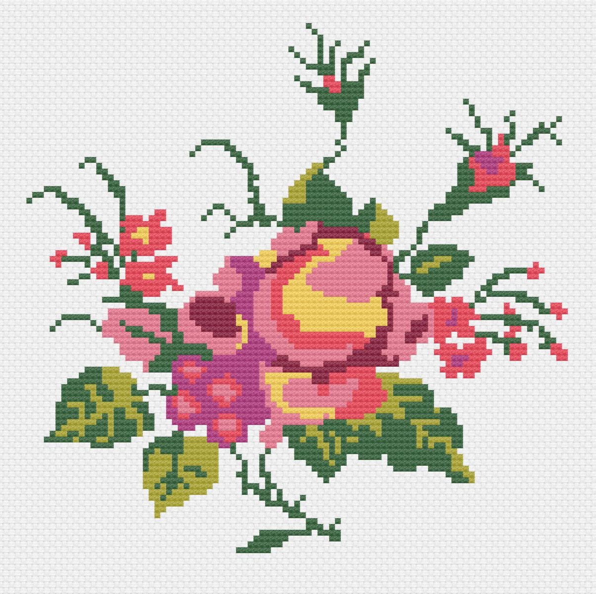 Historiana Cross Stitch Mexican Rose Pattern