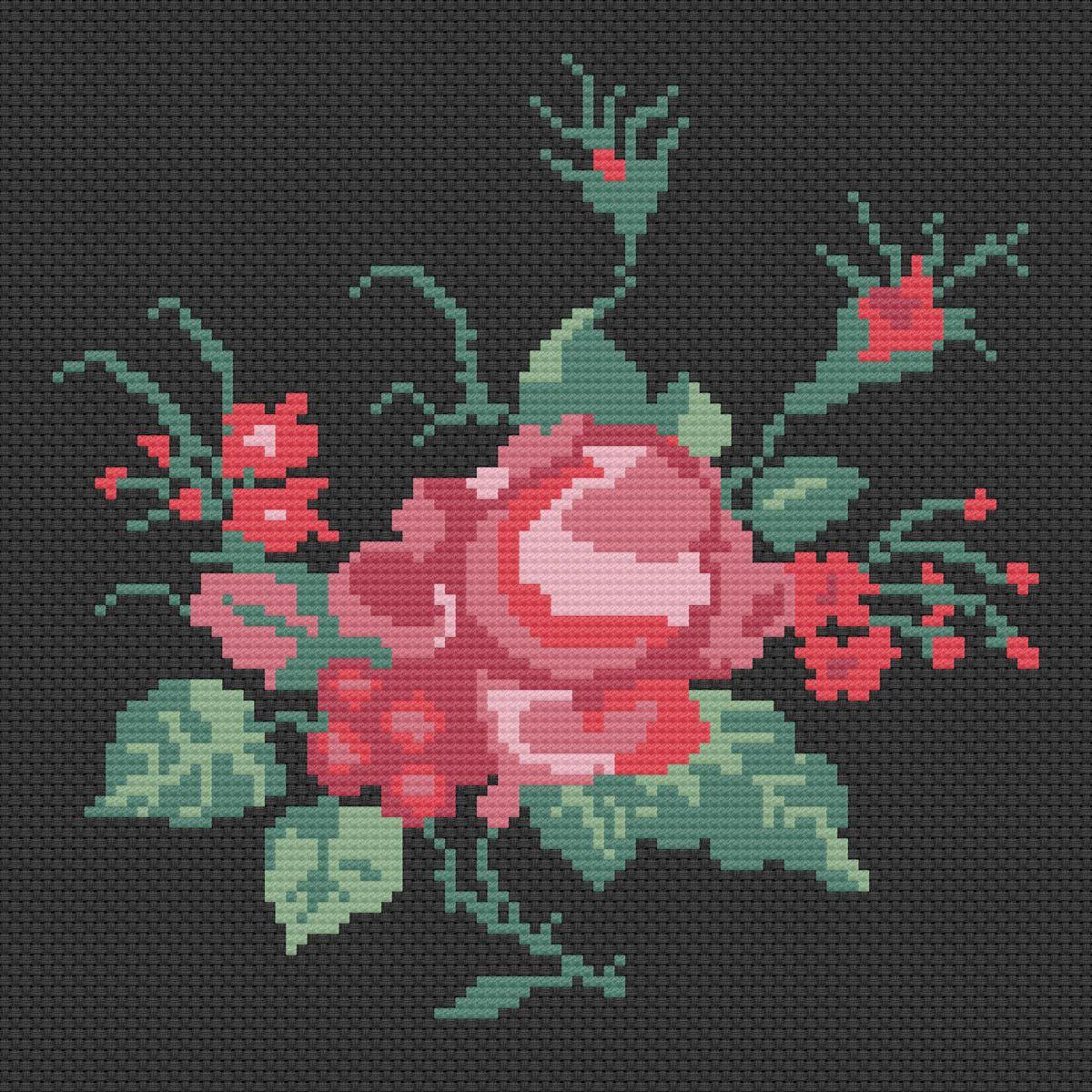 Historiana Cross Stitch Mexican Rose Pattern