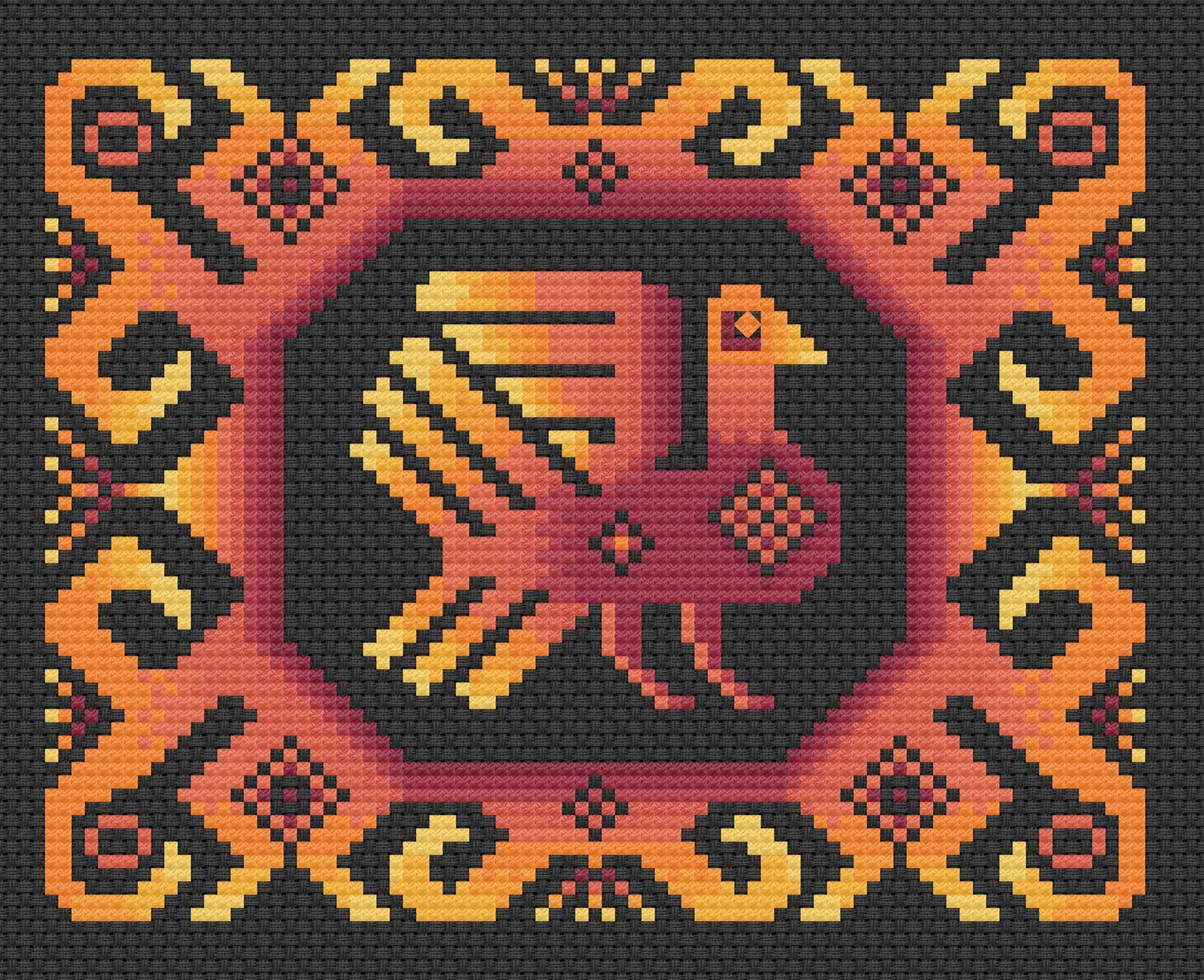 Historiana Cross Stitch Russian Folk Bird Pattern