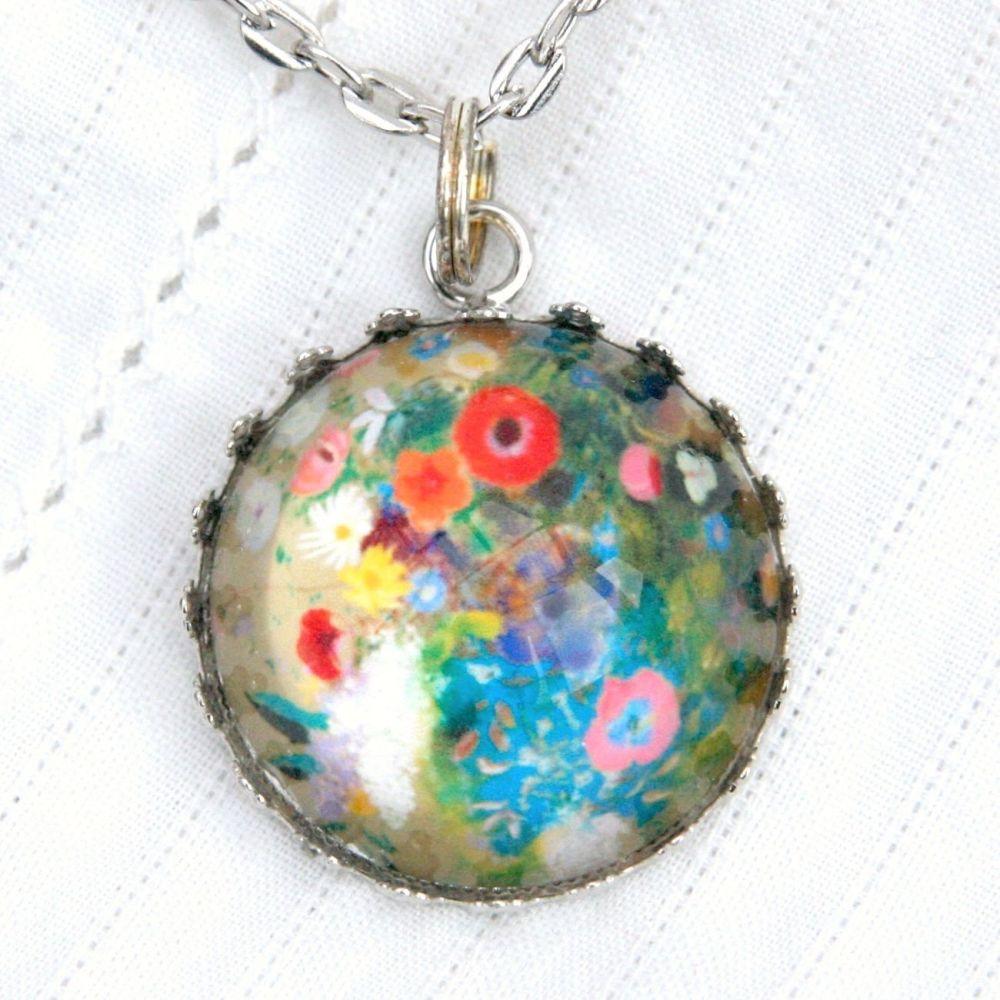 Odilon Redon flowers deep glass pendant