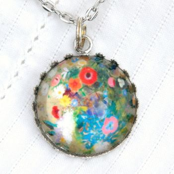 Odilon Redon flowers deep glass pendant