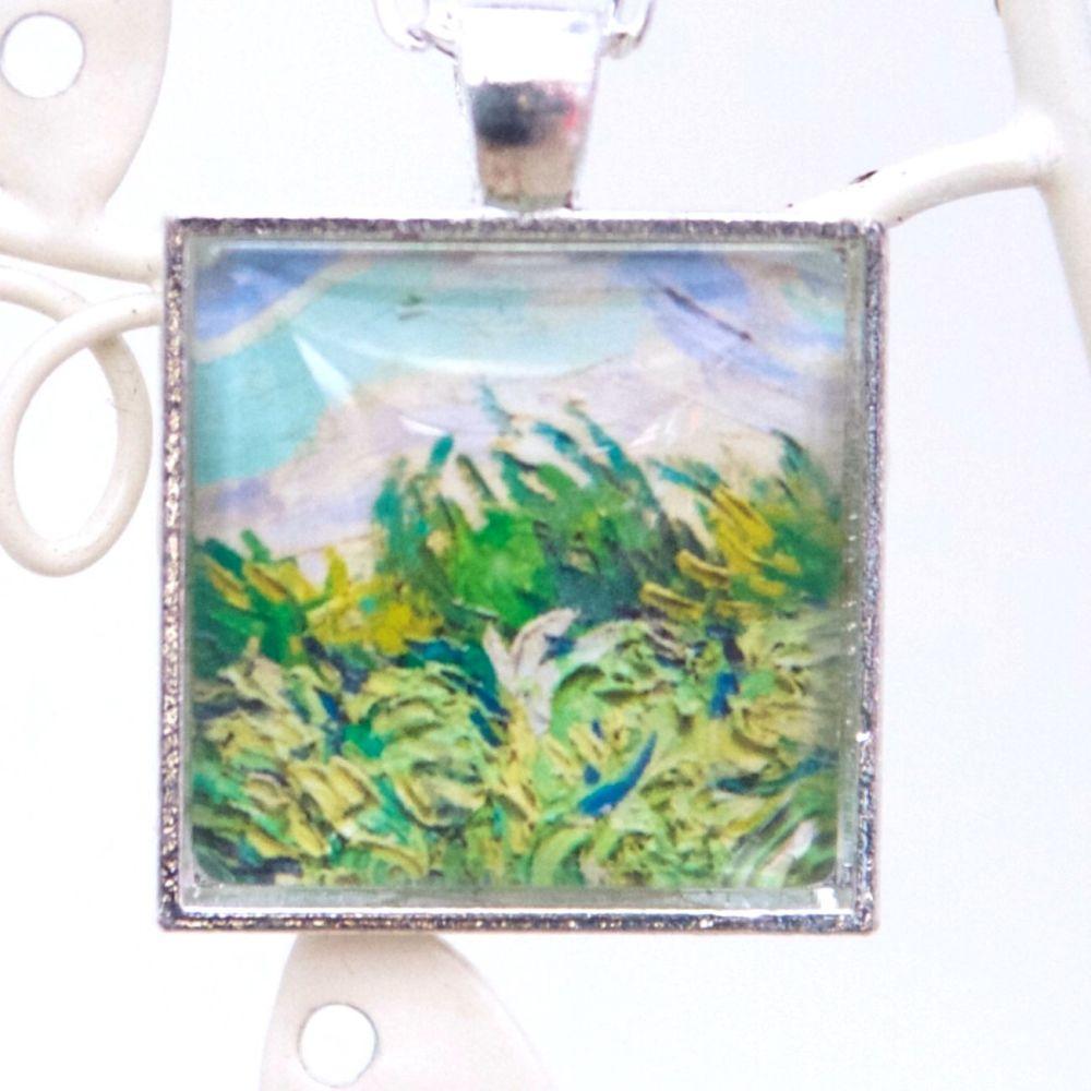 Van Gogh Wheat field square pendant