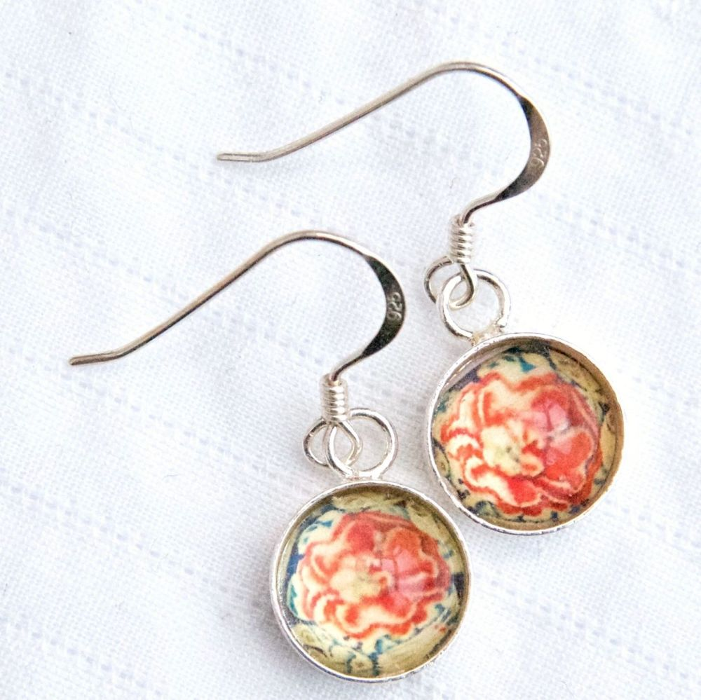 Rose tapestry deep glass earrings