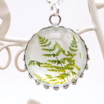 Antarctic fern 'Cystopteris fragilis' deep glass pendant