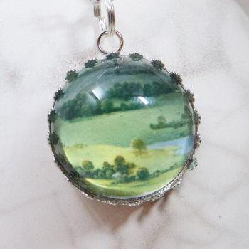 Flemish master landscape deep glass pendant
