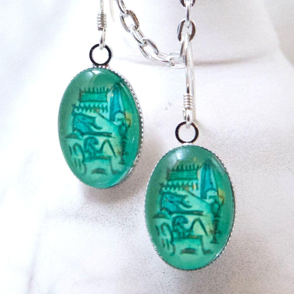 Egyptian Hatshepsut cartouche oval earrings