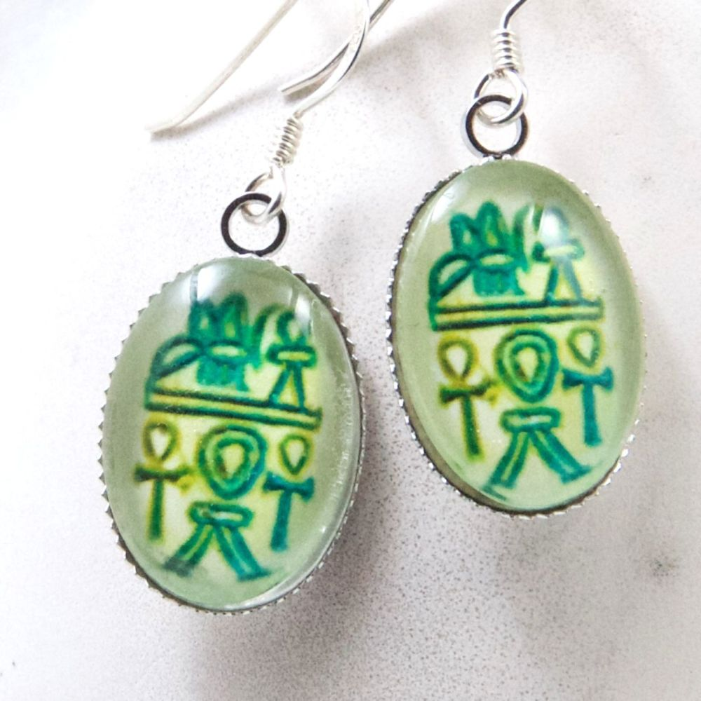 Egyptian hieroglyph oval earrings