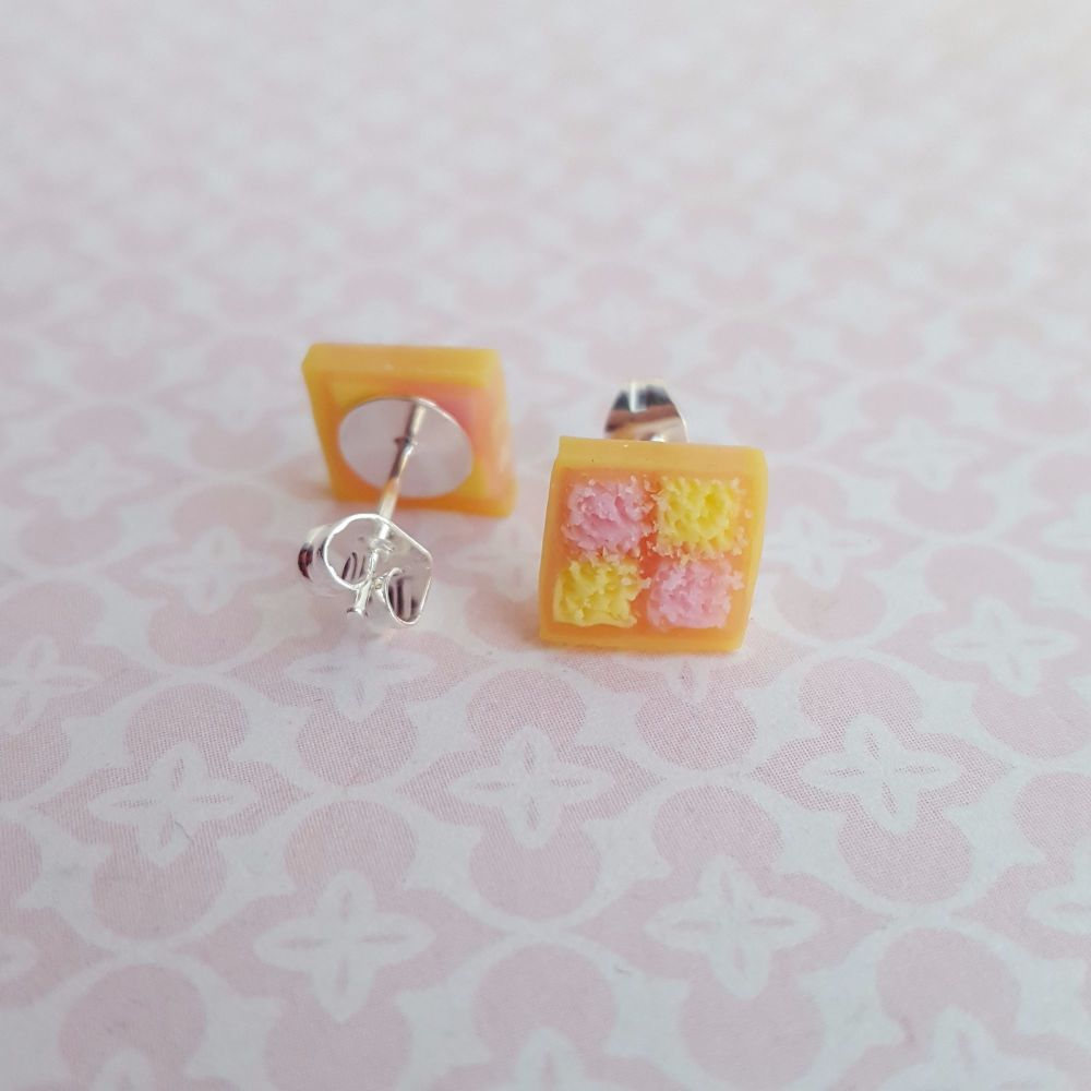 Battenburg slice earrings