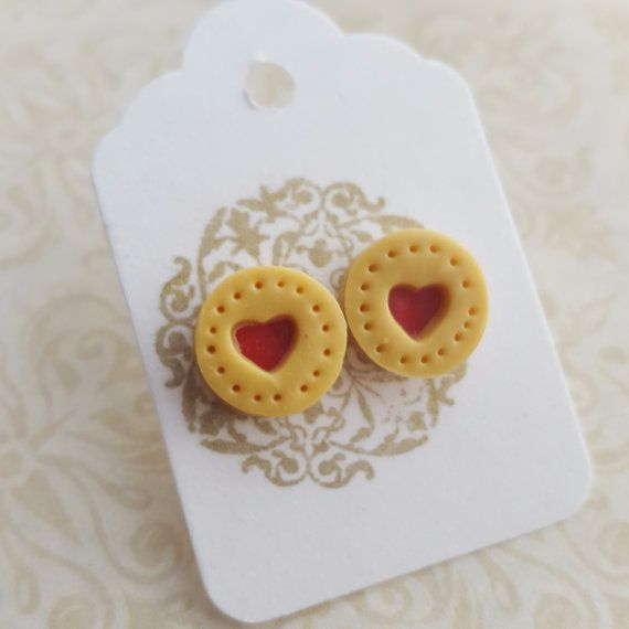 Jam heart biscuit post earrings