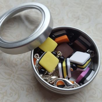 Liquorice allsorts marker set in a tin