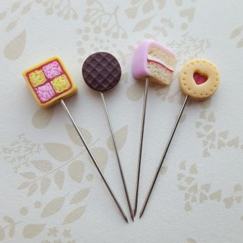 Cake themed quilting pins