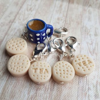 Tea and Rich Tea Biscuit Stitch Markers