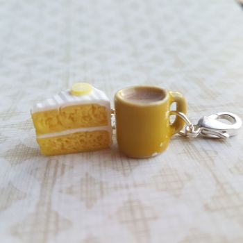 Lemon cake and Mug Stitch Marker Set