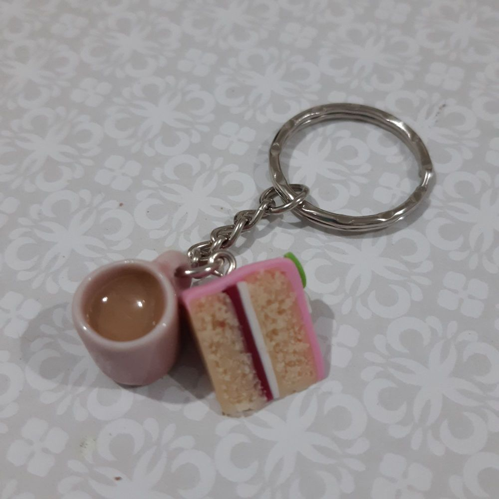 Cake and mug of tea key ring made from polymer clay