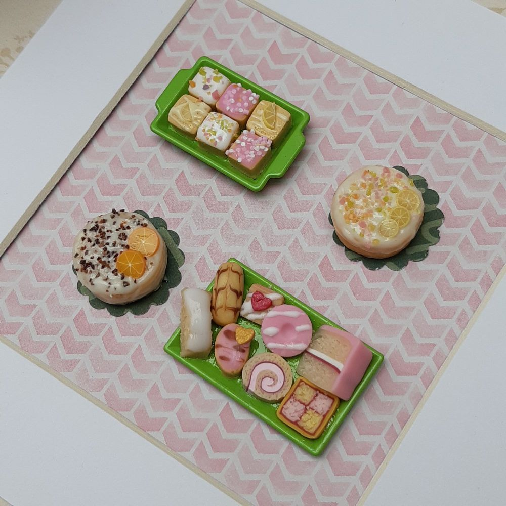Tea and Cakes (Pink Background)