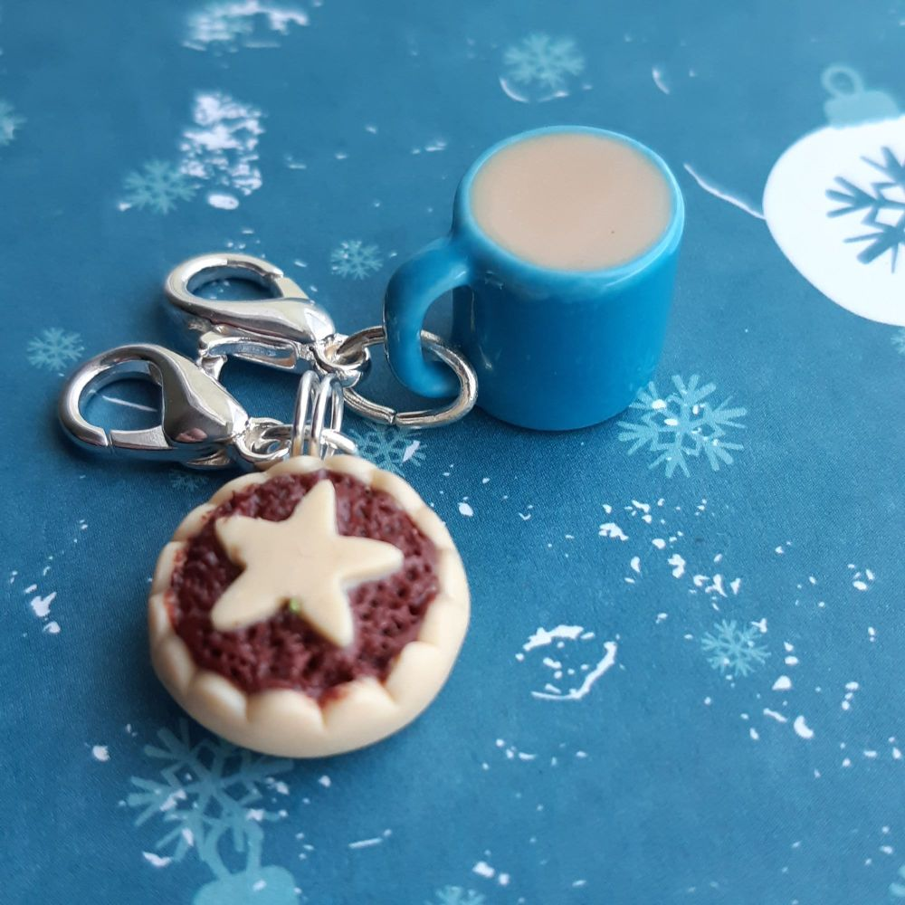 Mince pie and Mug Stitch Marker Set