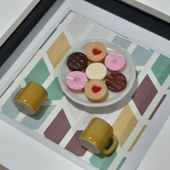 Plate of biscuits (chevron background)
